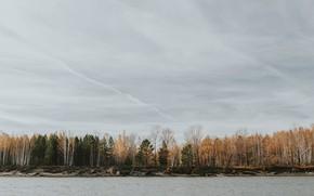 Картинка осень, лес, небо, природа, река