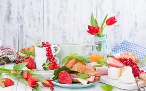 Картинка ягоды, завтрак, сыр, бутерброд, бекон, Круассан, Iryna Melnyk