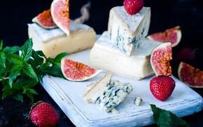 Картинка сыр, клубника, мята, инжир
