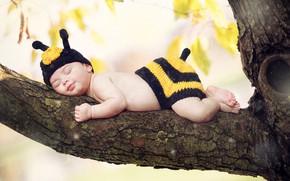 Картинка ветка, спит, девочка, малышка, костюмчик, деревo