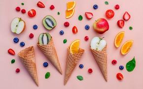 Обои ягоды, colorful, мороженое, фрукты, рожок, fruit, berries, ice cream, cone