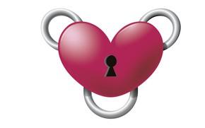 Картинка рендеринг, сердце, минимализм, валентинка, День Святого Валентина, замочек, Joshua Worley, Heart Binder