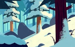 Картинка Зима, Снег, Лес, Елки, Art, Холод, Trees, Cartoon, Cold, Environment, by Andrey Syailev, Andrey Syailev