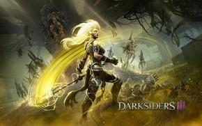 Картинка девушка, игра, существо, Darksiders III