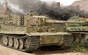 Картинка тигр, Германия, танк, вермахт, Ron Volstad, Tiger I, Pz.Kpfw. VI, панцерваффе, Тяжелый, Sd.Kfz. 181
