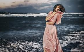 Картинка море, небо, девушка, природа, поза, ветер, платье, Alp Cem