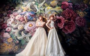 Обои цветы, стиль, темный фон, фон, девушки, стена, две, розы, букет, белые, живопись, дуэт, роспись, азиатки, ...