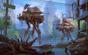 Картинка car, colorful, City, fantasy, road, water, science fiction, houses, sci-fi, ruins, digital art, buildings, artwork, …
