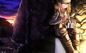 Картинка солдат, девочка, каска