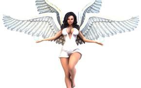 Картинка девушка, ангел, белый фон