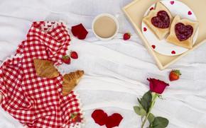 Картинка любовь, розы, завтрак, сердечки, love, romantic, hearts, coffee cup, valentine, круассаны, croissant, breakfast, roses, чашка …