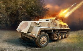 Обои вермахт, Sd.Kfz.4/1, Реактивная система залпового огня, 15cm Panzerwerfer 42 Auf.Sf, германская самоходная РСЗО