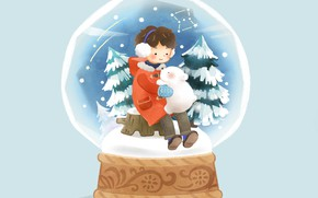 Картинка снег, мальчик, ёлки, голубой фон, медвеженок, снежный шар, на пеньке