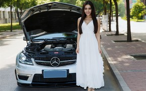 Картинка авто, взгляд, улыбка, Девушки, Mercedes, азиатка, красивая девушка