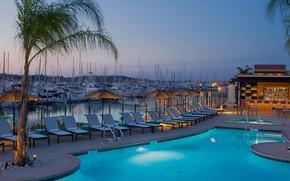 Картинка город, пристань, яхты, вечер, бар, бассейн, Калифорния, отель, курорт, Paloma, San Diego bay, Shelter island, …