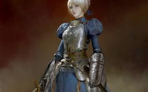 Картинка девушка, живопись, Saber, сейбер, Fate / Stay Night, Судьба Ночь схватки