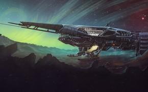 Картинка Звезды, Космос, Туманность, Корабль, Surface, Fantasy, Stars, Art, Космический Корабль, Поверхность, Фантастика, Nebula, Battleship, Spaceship, …