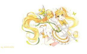 Картинка бабочки, прыжок, лента, перчатки, сапожки, бант, жезл, белое платье, волшебница, зеленые глаза, оборки, желтые волосы, …