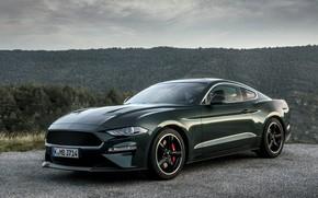 Картинка зелень, Mustang, Ford, 2018, Bullitt, фастбэк
