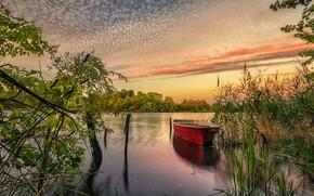 Картинка река, рассвет, лодка