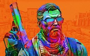 Картинка пистолет, оружие, цвет, мужик, очки, ярко, Counter-Strike: Global Offensive