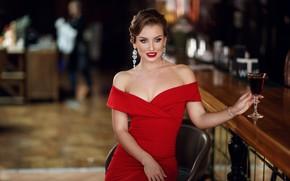 Картинка девушка, поза, стиль, модель, бокал, декольте, красное платье, плечи, Сергей Сорокин