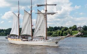 Картинка побережье, корабль, парусник, Германия, паруса, Эльба, Гамбург, пассажиры, экипаж, мачты, Hamburg, Elbe, Mare Frisium, 3-Mast …