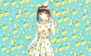 Картинка фон, девочка, лемоны