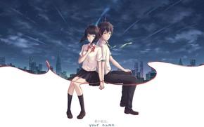 Картинка двое, арт, парень, Kimi no Na wa, аниме, девушка