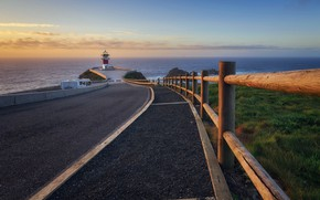 Картинка дорога, море, берег, маяк