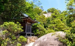 Картинка Природа, Горы, Япония, Лес, Камни, Храм, Святилище