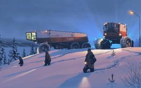 Картинка Snow, People, Lanterns, Machinery, Search