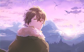 Картинка небо, драконы, парень, Восхождение Героя Щита, Naofumi Iwatani