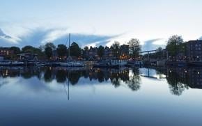 Картинка небо, вода, окна, дома, Вечер, вечер, яхта, Амстердам, Нидерланды, Amsterdam