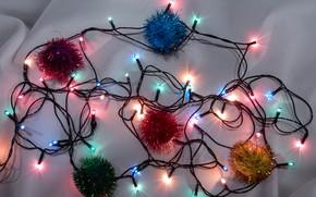 Картинка фон, настроение, свечение, огоньки, украшение, лампочки, широкоформатные, background, обои на рабочий стол, holiday, полноэкранные, HD …