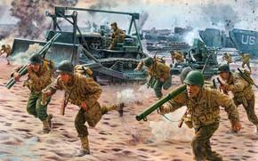 Картинка США, US Army, M1 Garand, Bofors, американская пехота, Operation Avalanche 9 Sep 1943, Caterpillar D‑7, …