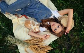 Картинка взгляд, девушка, поза, руки, кролик, колосья, шляпка, комбинезон, Алина Станиславская, Алина Божко