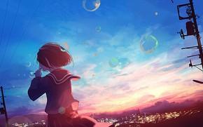 Картинка небо, девушка, закат, город, мыльные пузыри, школьная форма