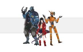 Картинка Девушка, Минимализм, Монстры, Робот, Монстр, Роботы, Стиль, Азиатка, Girl, Меч, Арт, Art, Asian, Robot, Style, …