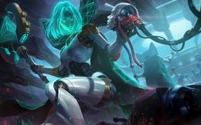 Картинка Девушка, Робот, Костюм, Fantasy, Арт, Art, Фантастика, League of Legends, Киборг, LOL, Cyber, Choe Heonhwa, …