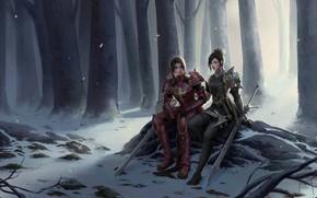 Картинка fantasy, forest, armor, trees, girls, winter, snow, weapons, digital art, artwork, swords, fantasy art, sitting, …