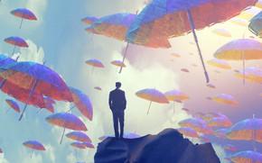Картинка Небо, Зонтик, Sky, Арт, Мужчина, Art, Фантастика, Umbrella, Man, Зонтики, Umbrellas, Jakub Grygier, by Jakub …