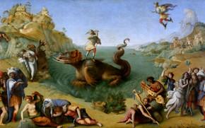 Картинка картина, мифология, Piero di Cosimo, Персей освобождающий Андромеду, Пьеро ди Козимо