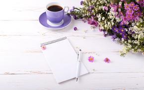 Картинка лето, цветы, кофе, ручка, блокнот