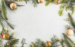 Картинка украшения, шары, Новый Год, Рождество, Christmas, balls, wood, New Year, decoration, frame, Merry, fir tree, …