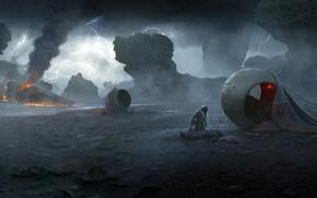 Картинка Молния, Дождь, посадка, Vladimir Manyukhin, On a dark planet