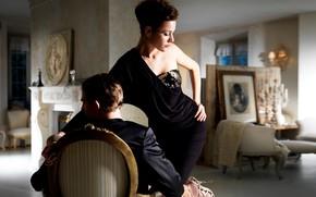 Картинка девушка, кресло, пара, парень