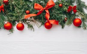 Картинка украшения, шары, Новый Год, Рождество, Christmas, wood, New Year, decoration, Merry, fir tree, ветки ели