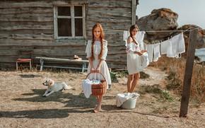Обои дом, белье, собака, Девушки, Катя, стирка, Оксана, Evgeny Freyer, Евгений Фрейер