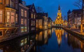 Картинка огни, вечер, канал, Нидерланды, Голландия, Alkmaar